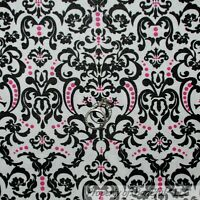 BonEful FABRIC FQ Cotton Quilt White Black PINK Flower Damask Victorian Girl Dot