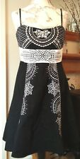COTTON CLUB Lovely Black and White Cocktail Dress With Rhinestones [Size 14]
