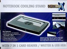 NEW NOTEBOOK LAPTOP NETBOOK COOLER PAD 38CM X 28CM, FAN, CARD READER & USB HUB