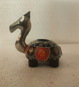 vintage attractive beautiful wooden  camel  iron fitted tealight holder
