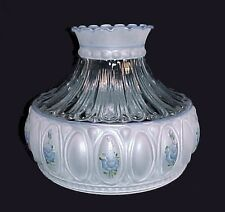 """Frosted Glass 10"""" Student Lamp Shade Hand Painted Blue Roses Floral"""