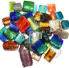 G3424 Assorted Color, Size & Shape Silver Foil-Lined 15mm - 21mm Glass Beads 4oz