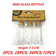 36 x Mini Clear Glass Bottle 7.5CM Art Craft DIY Home Decor Accessories Souvenir