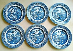 """Churchill Willow pattern 6 x side plates 6.5""""/16.5cm"""