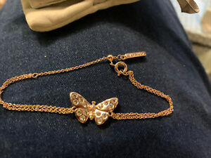 New Genuine Olivia Burton Butterfly Crystal Chain Bracelet Rose Gold In Pouch