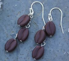 Triple shot espresso earrings -Glass coffee beans beads on sterling silver hooks