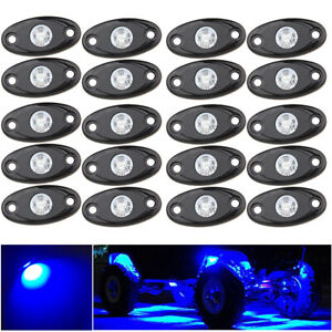 20pcs Blue Waterproof Off Road LED Rock Lights Replacement For MarineTruck SUV