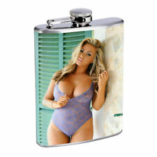 Indiana Pin Up Girls D10 Flask 8oz Stainless Steel Hip Drinking Whiskey