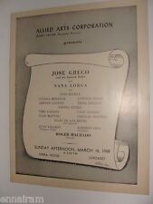 Jose Greco Spanish Ballet Program Chicago 1968 Nana Lorca, Roger Machado