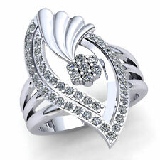 Fancy Right Hand Ring 14K Gold 2ct Round Cut Diamond Ladies Bridal
