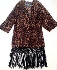Women's club l mousseline plage frange kimono top veste imprimé léopard m uk 8-10