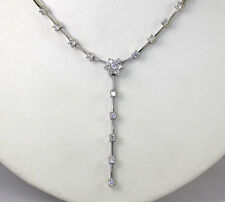 Lariat flower drop necklace 14K white gold 20 round brilliant CZ's 1.05CT 13.4GM