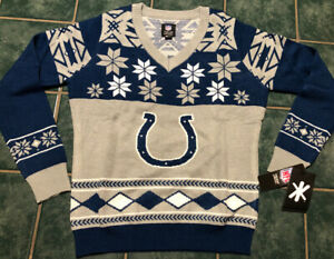 Klew NFL Indianapolis COLTS Holiday V-Neck Sweater Womens Large Ugly Christmas