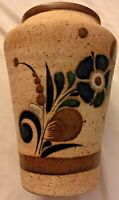 Folk Art Pottery Vase Mexico Tonala Hand Made Painted Clay Z Mex Artist Signed