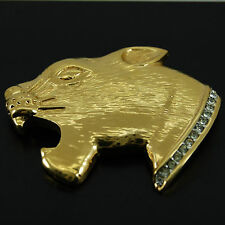 Jaguar Head by Butler, Vintage Golden Brooch with CZ Stone Neck Embelishment.