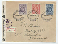 1945 Denmark #294-6 censored FDC to Finland Christian X [S.94]