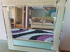 Gold Bevelled square Large Glitter mirror Frame bedroom wall 60x60cm champagne