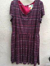 Fervour Retro Dress Plus Size 2X Lined Pockets Elastic Waist Short Sleeved