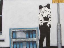 Pintura Al Óleo Grande Estilo Banksy policía de hombre Lesbiana Gay Moderno Arte Contemporáneo