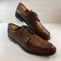 Ecco Mens Oxford Derby Shoes Brown Apron Toe Formal Dress US 13 - 13.5 EU 47