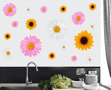 Bright FIORE COLORATI-CONFEZIONE DA 18-Wall art Adesivi Decalcomanie floreali Murales