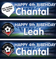 2 Personalised Birthday Banner Football Club Badge Children kids Party Poster