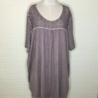 Ulla Popken Purple Lavender Dress Cotton T Shirt Size 28/30 Turkey Baby Doll