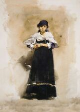 Woman with a Black Skirt, 1881, JOHN SINGER SARGENT Classic Impressionism Poster