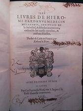 § LES LIVRES DE JÉRÔME CARDAN (GIROLAMO CARDANO) - PARIS 1556 §