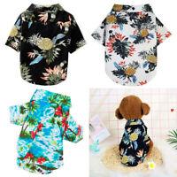 Spring Summer Printed Hawaiian Style Dog Cat Shirts Soft Cotton Pet Clothe Puppy