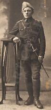 1920 ESTONIA Liberation War OFFICER in Early Type Uniform with DIRK KORTIK Photo