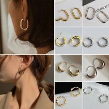 Fashion Silver/Gold Simple Earrings Hoop Stud Women Trendy Jewelry Party Gifts