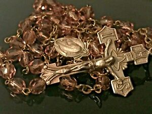 ✟ Estate Vintage Rosary Sterling Silver Chapel Violet Faceted Glass Beads