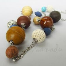 Mixed Media Necklace With Wood, Enamel, Porcelain And Cotton Beads