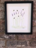 Bumble Bees on Lavender, Original Watercolour Painting, Original Art