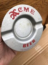 Clean Acme Beer Metal Ashtray 1940-1950's Tray Sign
