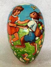 Vintage Western Germany Paper Mache Easter Egg - 7.5 In - Girl Dancing w/Bunny!