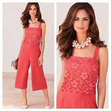Kaleidoscope Size 12 Simply Fab Rich Coral Lace Over Top CULOTTES JUMPSUIT £95