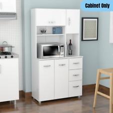 Modern Microwave Cart Kitchen Cabinet 4-Doors 3-Drawers Pantry Organizer White