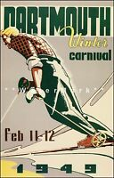Dartmouth 1960 New Hampshire Winter Carnival Vintage Poster Print Ski Sports
