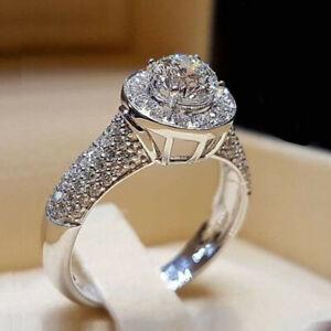 Luxury 925 Silver Rings Cubic Zirconia Jewelry for Women Wedding Rings Size 6-10