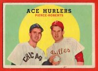 1959 Topps #156 Ace Hurlers Robin Roberts GOOD+ CREASE Billy Pierce FREE S/H