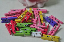 50pcs 25mm Natural Wood Clip Painted Pin Clothespin Photo Laundary Scrapbooking