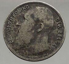 1904 BELGIUM - Original Antique Silver 1 FRANK Coin - King LEOPOLD II i56846
