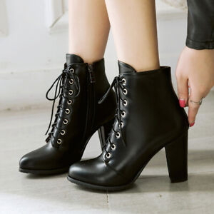Women Martin Boots Leather Lace Up Chunky Heel Combat Ankle Booties US 6 Black
