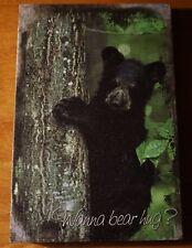 BLACK BEAR CUB CLIMBING TREE Wood Framed Canvas Lodge Cabin Home Decor Sign NEW