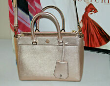 #21 *P $398 Tory Burch Robinson Rosegold Double Zip Small Tote