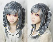 Peko Pekoyama Cosplay Wig Danganronpa Dangan-Ronpa Wigs Long Synthetic Grey Hair