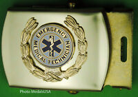 EMT Emergency Medical Technician wreath black Web Belt & Brass Buckle