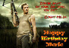 WALKING DEAD Daryl Dixon Norman Reedus Personalised Happy Birthday zombie Card